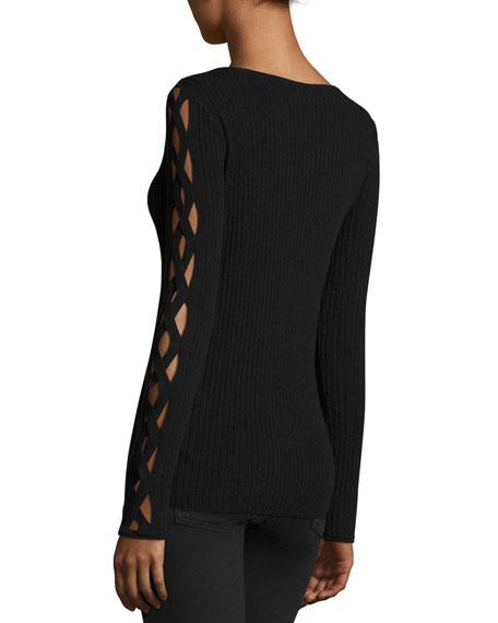 Kimila Cutout-Sleeve Ribbed Sweater, Black