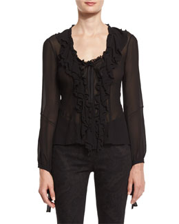 Ruffled-Front Silk Blouse, Black