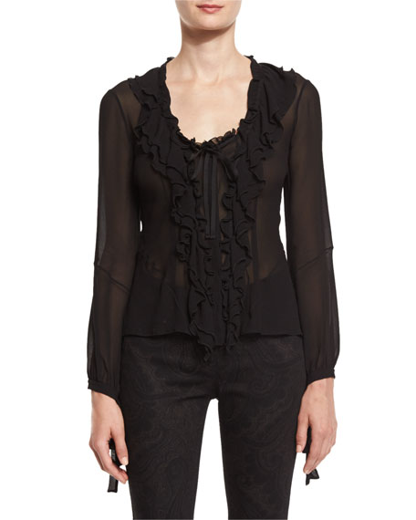 Etro Ruffled-Front Silk Blouse, Black