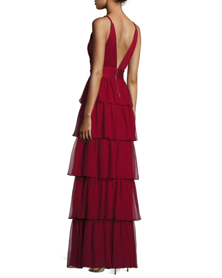 Sleeveless Tiered Silk Chiffon Gown, Bordeaux