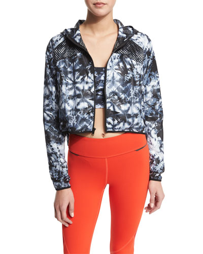 Woven Mesh-Inset Athletic Zip Jacket  Palm Shadow
