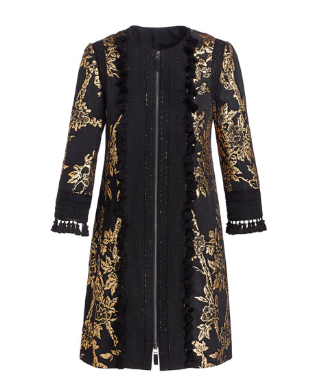 Zip-Front Metallic Jacquard Coat, Black/Gold