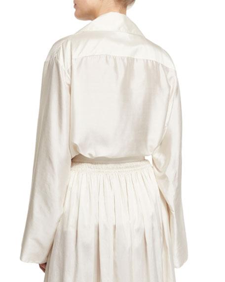 Moos Wide-Sleeve Silk Top, Old Lace