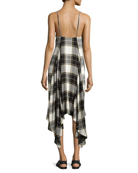 Lilu Sleeveless Plaid Dress, Yellow/White/Gray