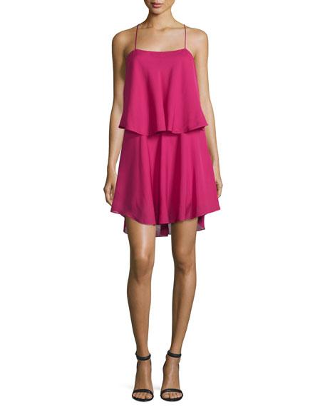 Silk Racerback Mini Dress, Deep Magenta