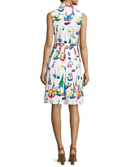 Audrey Sailboat-Print Sleeveless Shirtdress, White