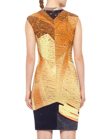 Rock Climbing Wall Printed Cap-Sleeve Dress, Rust/Navy