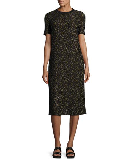 Ray Short-Sleeve Lace Midi Dress, Black/Yellow