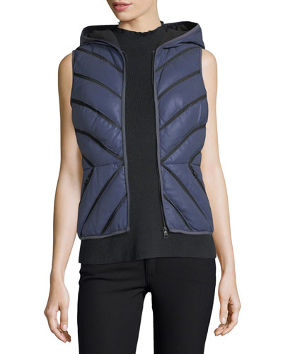 Satin Mesh-Inset Puffer Vest