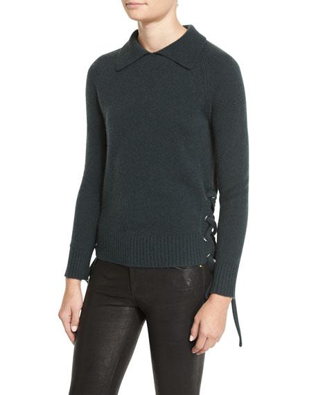 Side-Tie Cropped Sweater, Spruce