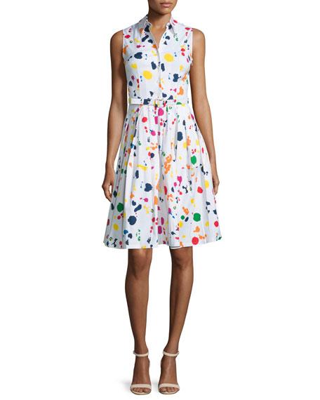 Claire Splatter-Print Sleeveless Shirtdress, White