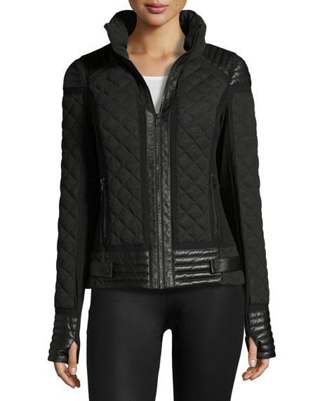 Leather-Trim Quilted Moto Puffer Jacket, Charcoal Heather
