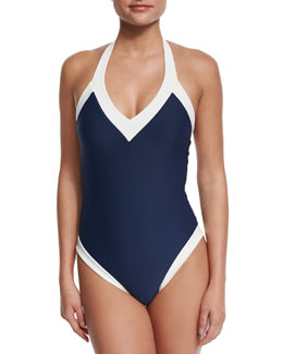Cape Cod Padded V-Neck Halter One-Piece Swimsuit, Navy