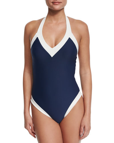 Cape Cod Padded V-Neck Halter One-Piece Swimsuit, Navy