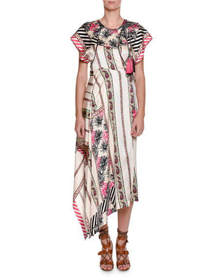 Short-Sleeve Asymmetric Silk Midi Dress, Pink