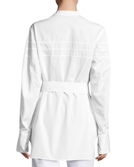 Kaimee Pleated Belted Blouse, White