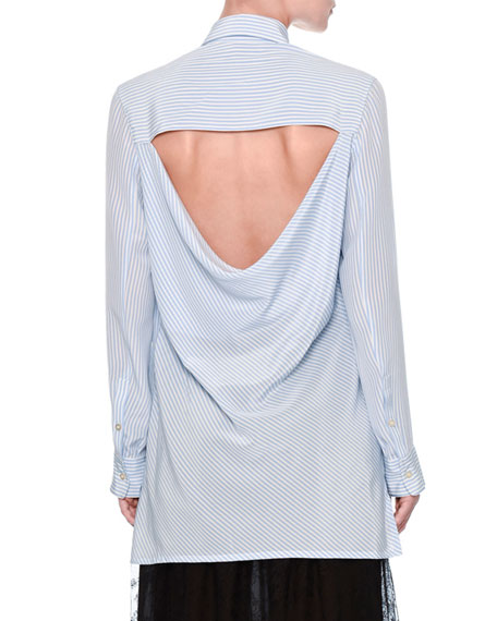 Striped Draped-Back Blouse