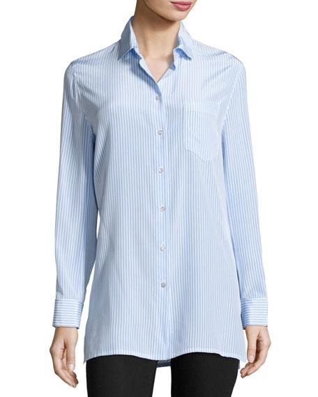 Striped Draped-Back Blouse