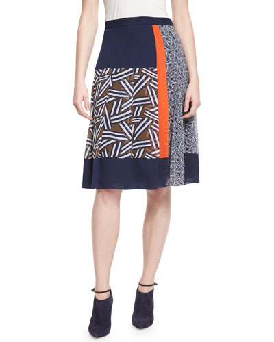 Cici Mixed-Print Pleated Skirt