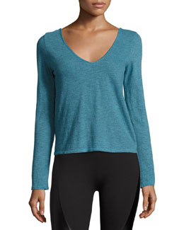 Cross-Back Melange Active Top, Turquoise