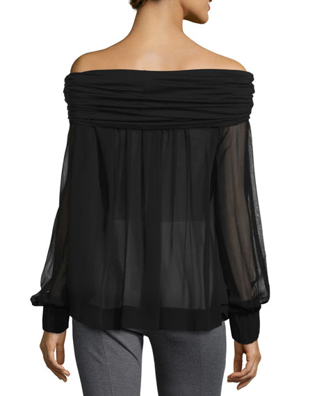 Long-Sleeve Off-the-Shoulder Blouse, Black