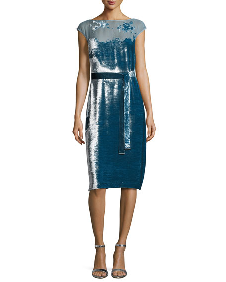 Devore Cap-Sleeve Belted Velvet Dress, Blue