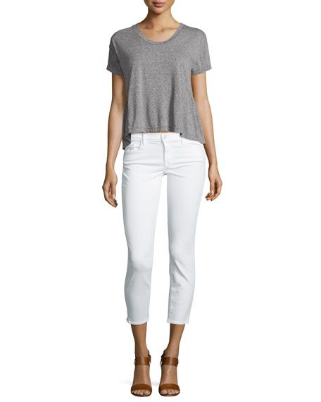 835 Mid-Rise Cropped Jeans, Blanc