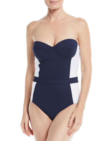 1e80254301141 Tory Burch Lipsi Two-Tone One-Piece Swimsuit