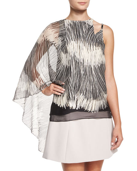 Flowy Sleeveless Top W/Asymmetric Cape, Black Line
