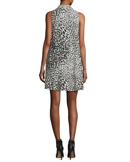 Mina Sleeveless Cheetah-Print Silk Shirtdress, Nature White/True Black