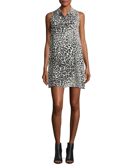 Mina Sleeveless Cheetah-Print Silk Shirtdress, Nature White/True