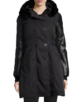 Ajin Brushed Twill Fur-Trim Swing Coat, Black