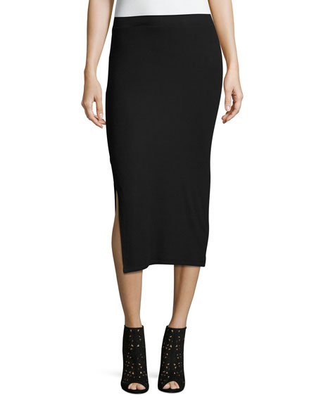 ATM Anthony Thomas Melillo Side-Slit Knit Tube Skirt
