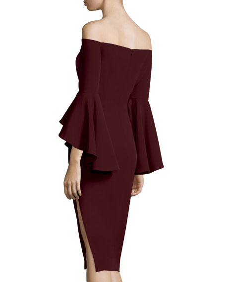 Selena Off-The-Shoulder Sheath Dress, Bordeaux