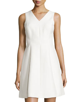Sleeveless Fit-&-Flare Dress, Bone