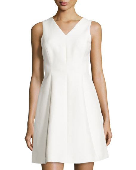 Sleeveless Fit-&-Flare Dress, Bone