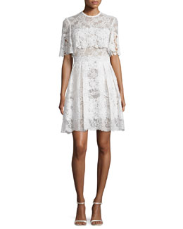 Lace Capelet Cocktail Dress, Ivory