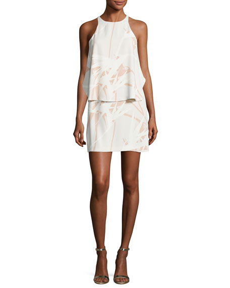 Halston Heritage Sleeveless Round-Neck Printed Tiered Dress,