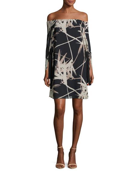 Long-Sleeve Off-the-Shoulder Printed Dress, Multi