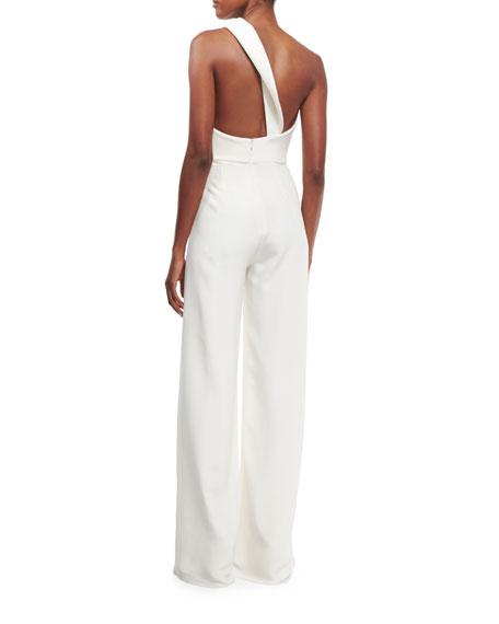 One-Shoulder Silk Crepe Jumpsuit