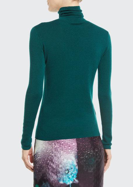Turtleneck Long-Sleeve Cashmere-Silk Sweater