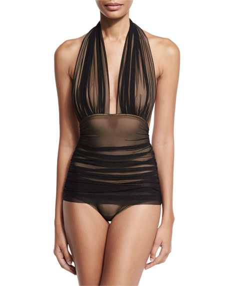 Norma Kamali Bill Ruched-Mesh Halter Maillot Swimsuit, Black