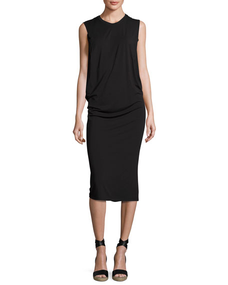 Halston Heritage Sleeveless Fitted Draped Jersey Dress, Black