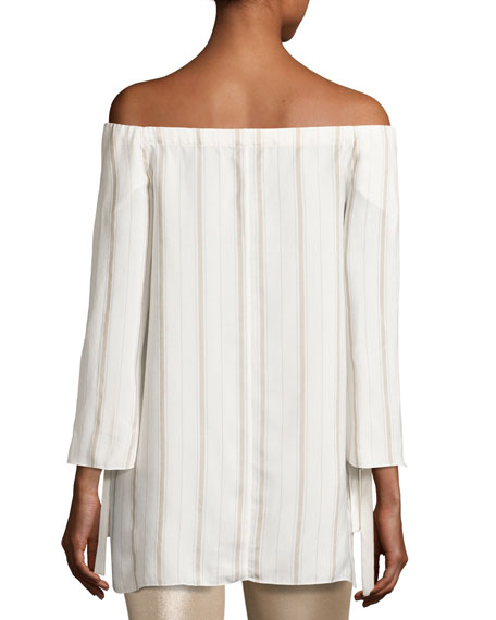 Striped Tie-Sleeve Off-the-Shoulder Top, Tan
