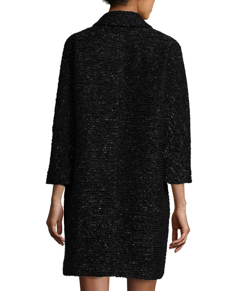 Alexis 3/4-Sleeve Lurex® Tweed Coat, Black