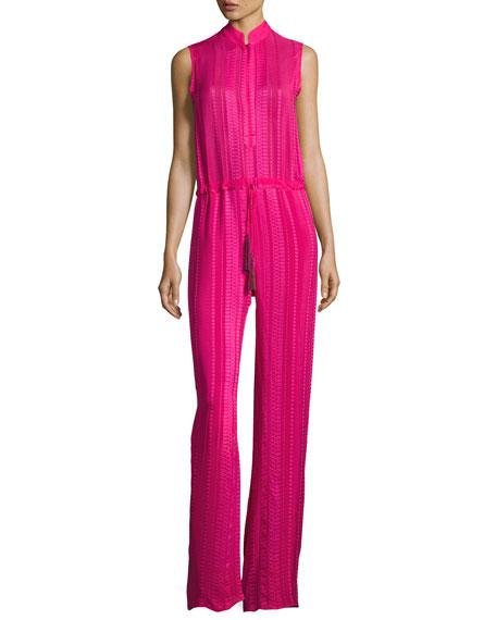 Sleeveless Textured Silk Jumpsuit, Magenta