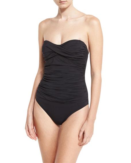 Letarte Essentials Bandeau-Top One-Piece Swimsuit, BLUE