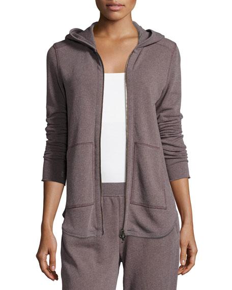 Long-Sleeve Zip-Front Hoodie Sweatshirt