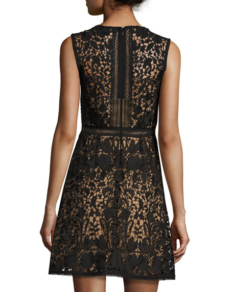 Sleeveless Lace A-Line Dress, Black