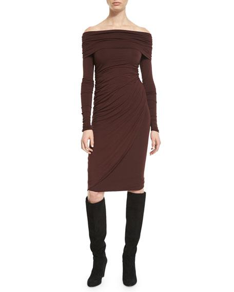 Off-the-Shoulder Long-Sleeve Jersey Dress